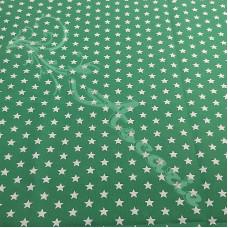 White Stars on Green 100% Digital Cotton