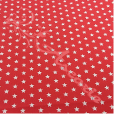 White Stars on Red 100% Digital Cotton
