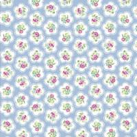 .88cm Dainty Flowers on Powder Blue 100% Cotton