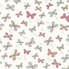 Woodland Butterflies Cream 100% Cotton Fabric
