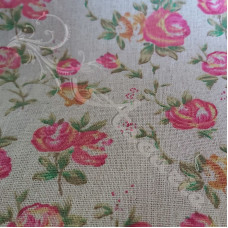 Cotton Rich Roses on Linen Look Fabric