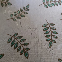 Cotton Rich Leaves on Linen Look Fabric