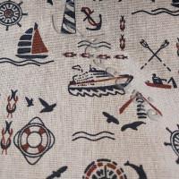 Cotton Rich Linen Look Small Nautical Design