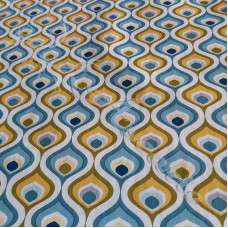PVC Table Coverings Blue - Mustard