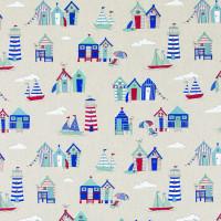 .44cm  Cotton Rich Linen Look Beach Hut Design
