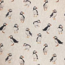 Digital Linen Puffins Cotton Rich Fabric