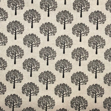 Cotton Rich Linen Look Black Mulberry Trees