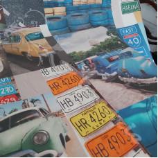 Cuban cars on a Cotton Rich Linen Look Fabric
