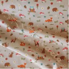 .48cm Cotton Rich Linen Look Woodland Animals