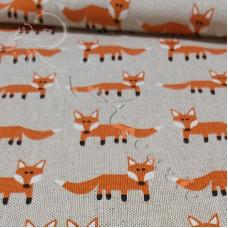 Cotton Rich Linen Look Foxes