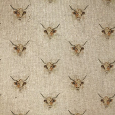 Digital Linen Look Highland Cow Cotton Rich Fabric