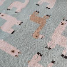Cotton Rich Llamas on a Blue background