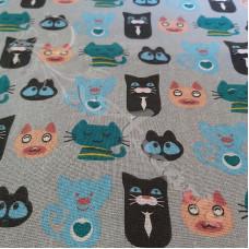 Cotton Rich Linen Look Cartoon Cats