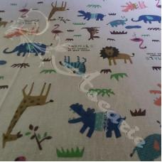 Cotton Rich Safari Animals on Linen Look Fabric