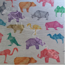Cotton Rich Origami  Animals on Linen Look Fabric