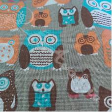 Cotton Rich Linen Look Owls