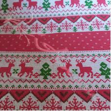 Cotton Rich Linen Look Scandi Christmas Red