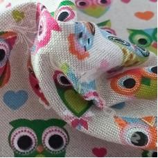 Cotton Rich Linen Look Owls & Hearts