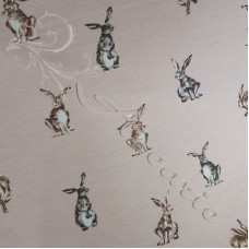 Cotton Rich Linen Look Shabby Hares on Pink