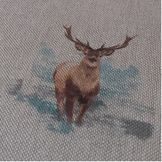 Digital Linen Look Stags on Cotton Rich Fabric