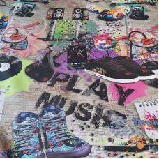Play Music Cotton Rich Linen Look Fabric