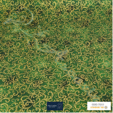Christmas Sparkling Gold Scrolls on Green 100% Cotton from John Louden