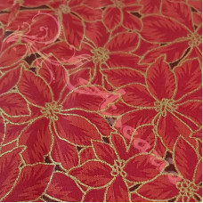 Christmas Red Poinsettia 100% Cotton from John Louden