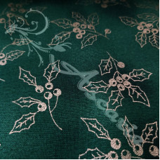 Christmas Sparkling Gold Holly on Green 100% Cotton from John Louden