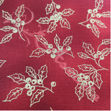 Christmas Sparkling Gold Holly on Red 100% Cotton from John Louden