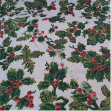 Large Christmas Holly on White 100% Cotton