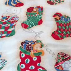 Christmas Stockings on White 100% Cotton from Rose & Hubble