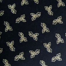 .75 cm Small Gold Holly on Black  Background  100% Cotton
