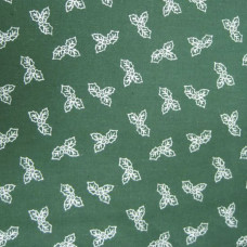 Clearance .98cm Small Silver Holly on Green Background  100% Cotton
