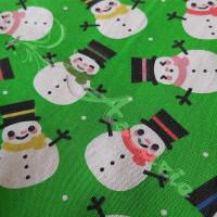 Snowmen on Green Polycotton Print
