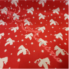 Angels on Red Polycotton Print