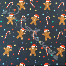 Gingerbread & Candy Canes on Navy Polycotton Print