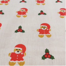 Gingerbread Father Christmas Polycotton Print