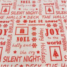 Christmas Greetings on white Polycotton Print