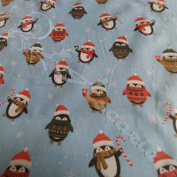 Penguins in Woolly Hats on Blue Polycotton Print