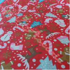 Christmas Snowmen, trees, candy canes on Red Polycotton Print