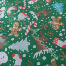 Christmas Snowmen, trees, candy canes on Green Polycotton Print