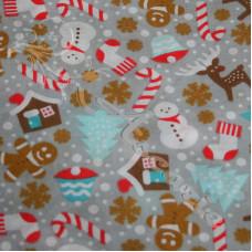 Christmas Snowmen, trees, candy canes on Grey Polycotton Print