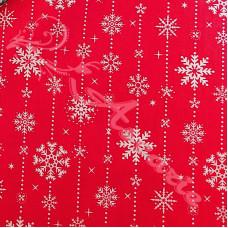 Snowflake drops on Red Polycotton Print