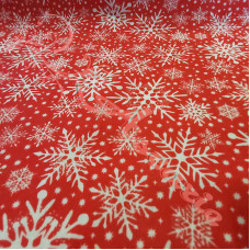 Snowflakes on Red Polycotton Print