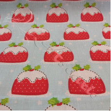 Christmas Puddings on Blue Polycotton Print