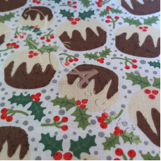 Christmas Puddings on White Polycotton Print
