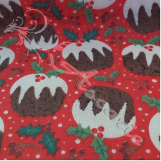 Christmas Puddings on Red Polycotton Print