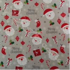 Merry Christmas Santa on Grey Polycotton Print