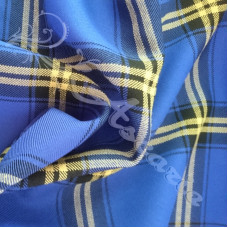 Blue with Yellow  & Black Tartan  Check PolyViscose