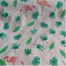 Cotton Rich Linen Pink Flamingos with Leaves